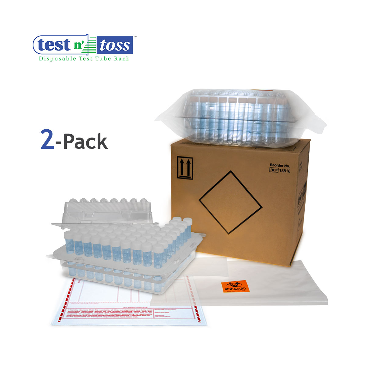 18822 Test Tube Lab Sample Shipping 2-Pack
