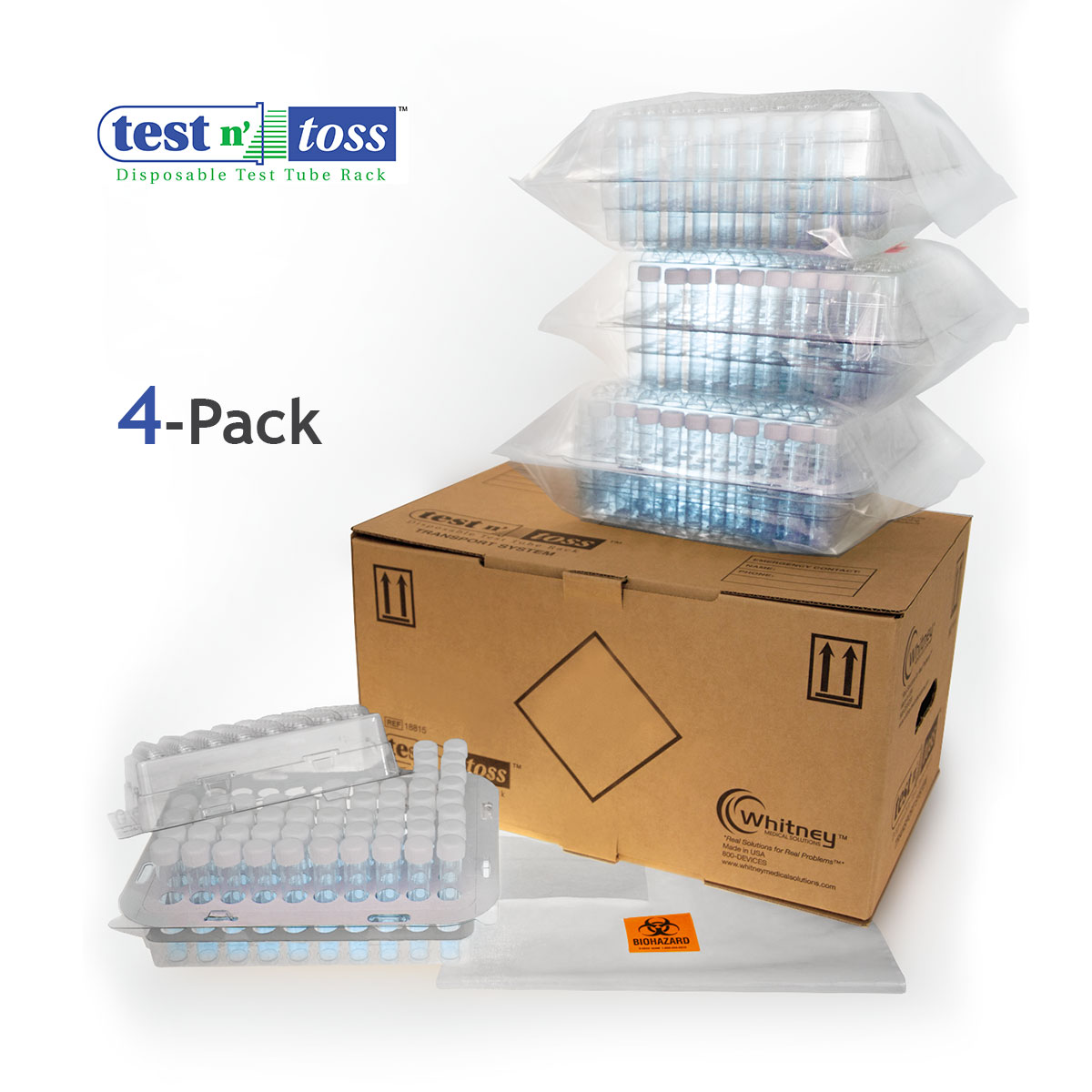 18824 Test Tube Lab Sample Shipping 4-Pack