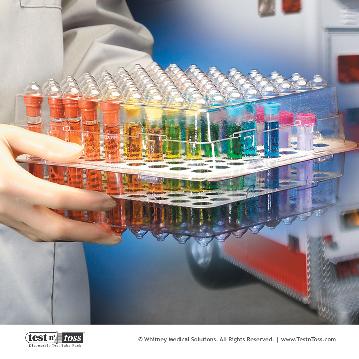 Test Tube Rack for Transport of Infectious Diagnostic Lab Specimens